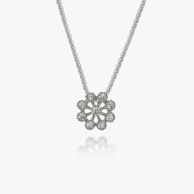 Sterling Silver Flower White CZ Pendant and Chain
