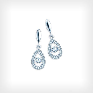 Sterling Silver White CZ Drop Earrings