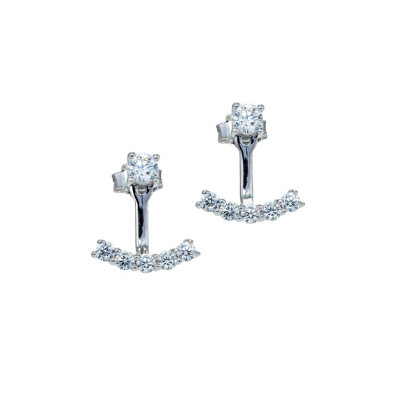 Sterling Silver White CZ Anchor Style Drop Earrings
