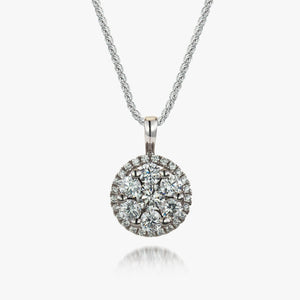 Sterling Silver White CZ Cluster Pendant and Chain