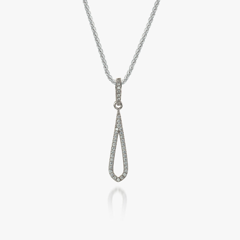Sterling Silver White CZ Loop Pendant and Chain