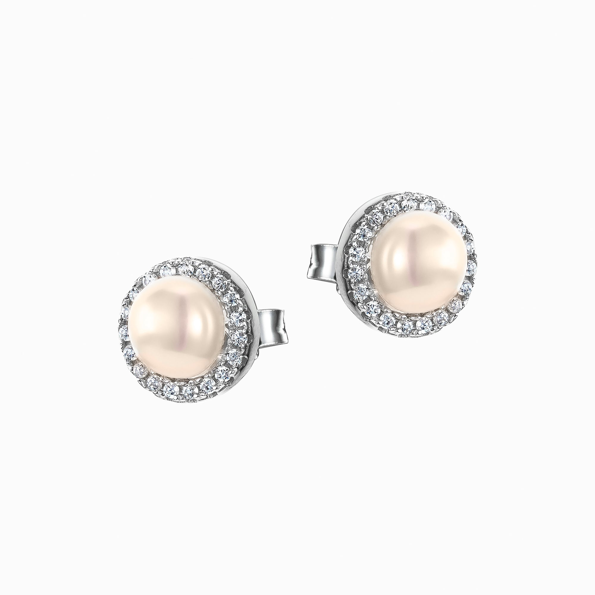 Sterling Silver Pearl and CZ Stud Earrings