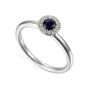 SEPTEMBER- 9ct White Gold Sapphire and Diamond Cluster Ring