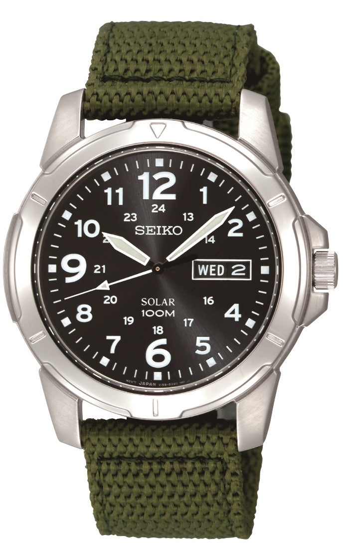 Seiko Solar 100m Stainless Steel Green Canvas Strap Watch