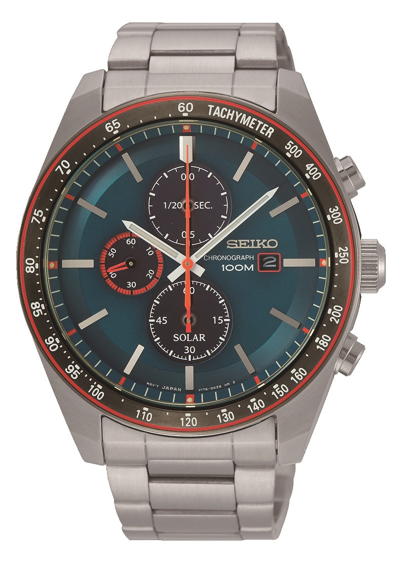 Seiko Solar Chronograph 100m Stainless Steel Watch