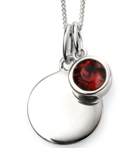 Silver January Birthstone Pendant and Chain