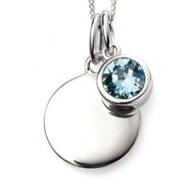 Silver March Birthstone Pendant and Chain