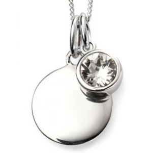 Silver April Birthstone Pendant and Chain