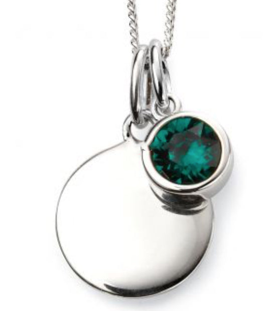 Silver May Birthstone Pendant and Chain