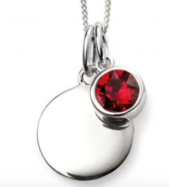 Silver July Birthstone Pendant and Chain