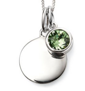 Silver August Birthstone Pendant and Chain