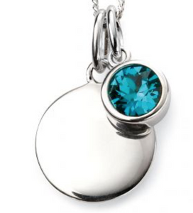 Silver December Birthstone Pendant and Chain