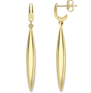 9ct Yellow Gold Plain Gold Drop Earrings
