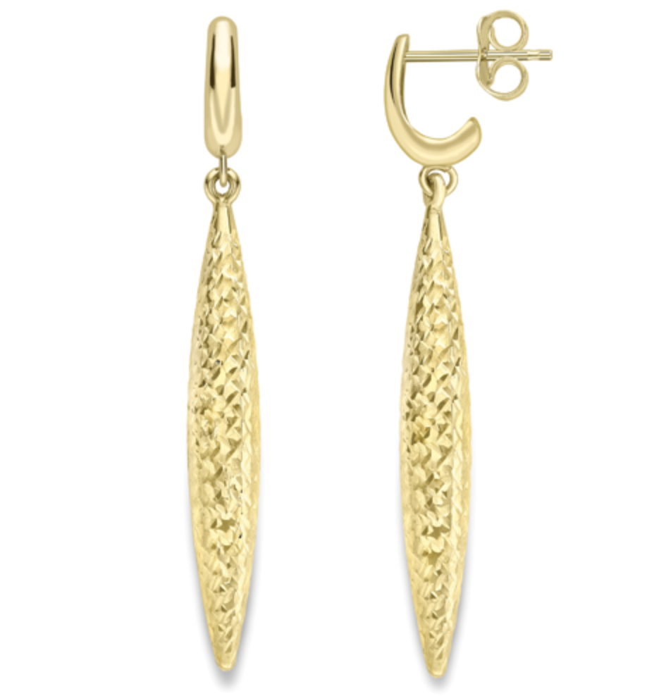 9ct Yellow Gold Sparkle Drop Earrings