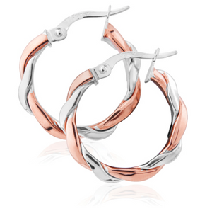 9ct Rose and White Gold Twist Hoops