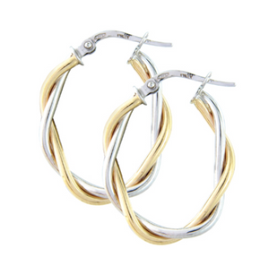 9ct Yellow and White Gold Twist Hoops