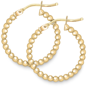 9ct Yellow Gold Beaded Design Hoops