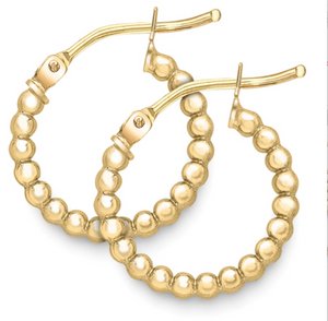 9ct Yellow Gold Small Beaded Hoops