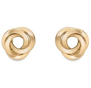 9ct Yellow Gold Three Strand Knot Stud Earrings