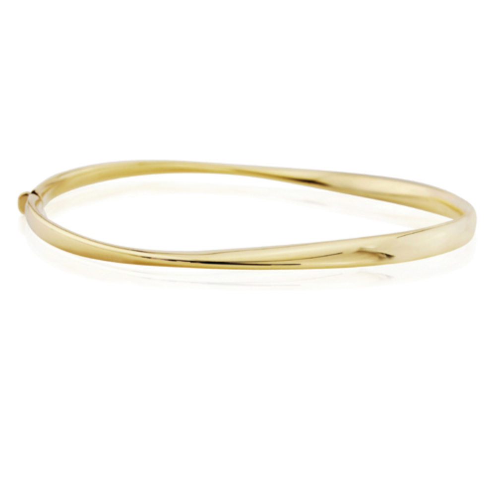 9ct Yellow Gold Twisted Hinged Bangle