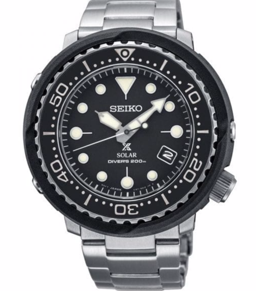 "Seiko Solar ""Tuna"" Stainless Steel Divers Bracelet Watch"