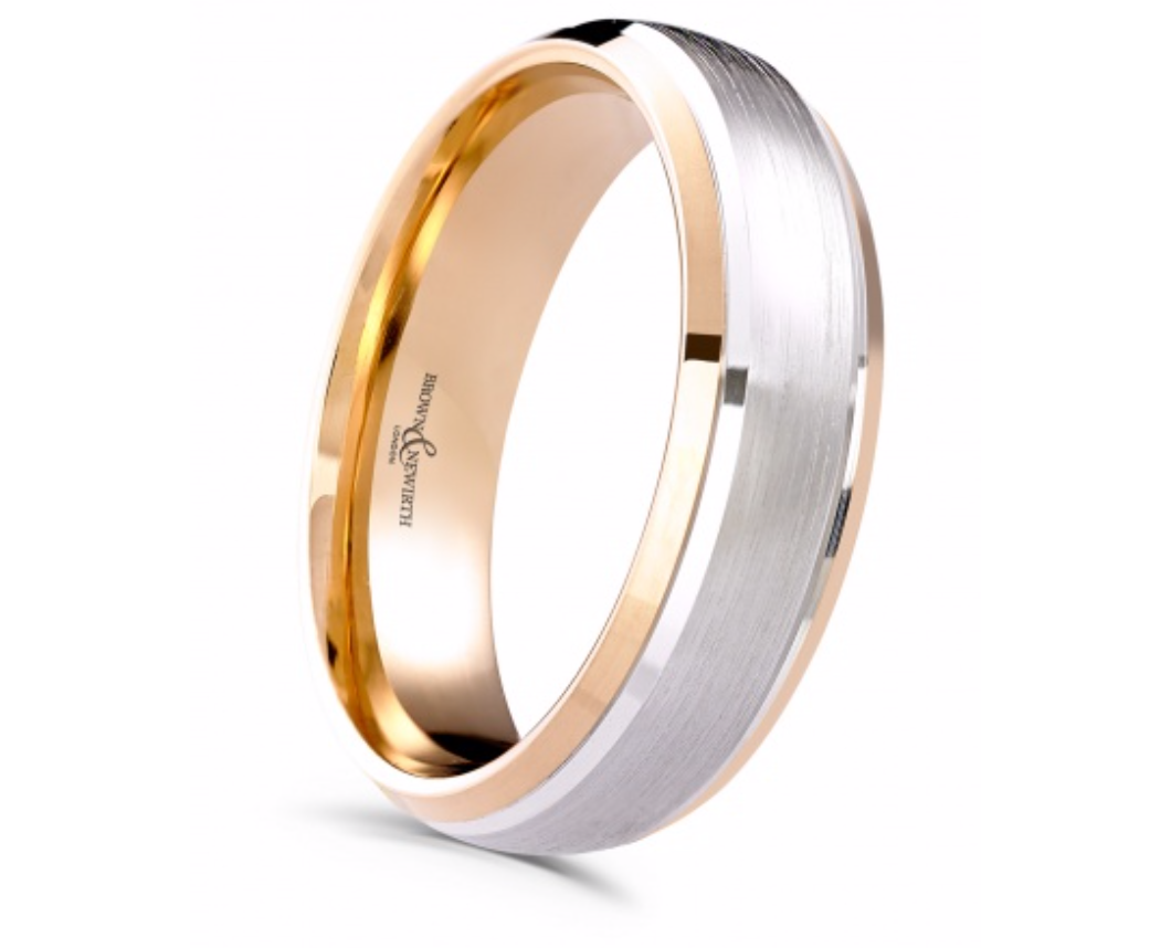 Palladium and Rose Gold 6mm Satinised Wedding Ring
