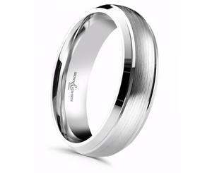 Platinum Satinised and Polished 6mm Wedding Ring