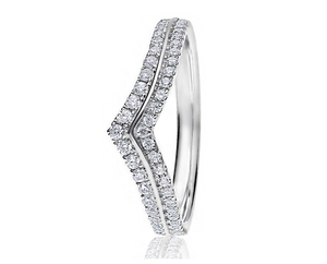 18ct White Gold Double Diamond Wishbone Wedding Ring