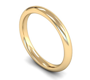 9ct Yellow Gold Plain 2.5mm Wedding Ring
