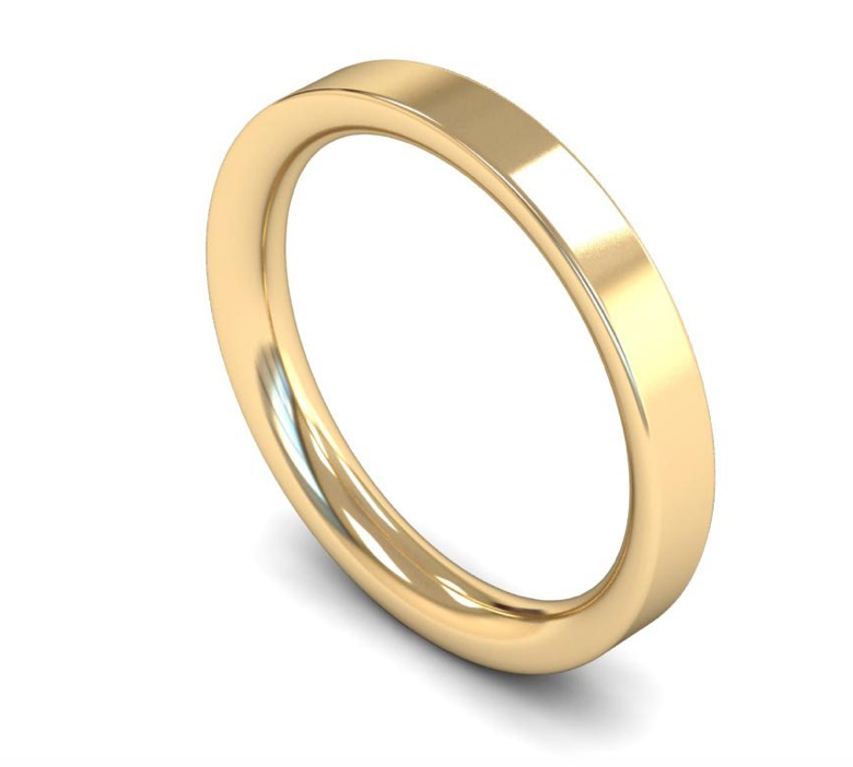 18ct Yellow Gold 3mm Plain Wedding Ring