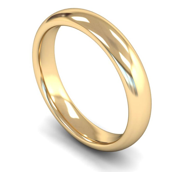9ct Yellow Gold Plain 4mm Wedding Ring