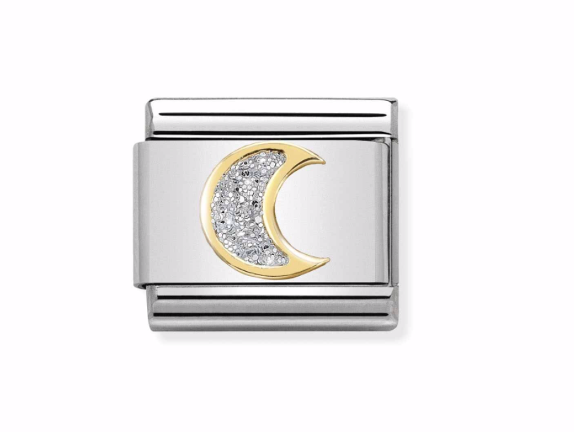 Nomination yellow and Steel Glitter Moon Charm