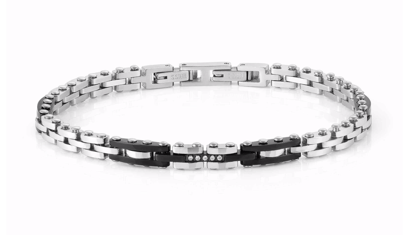 Nomination Gents Bracelet with Black Stones