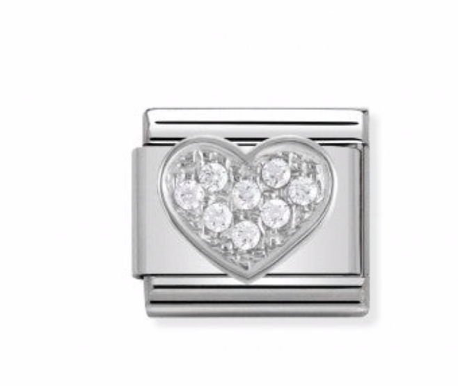Nomination Composable Classic Link Heart in Silver CZ