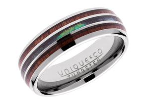 Wood Inlay and Abalone Shell Tungsten Ring