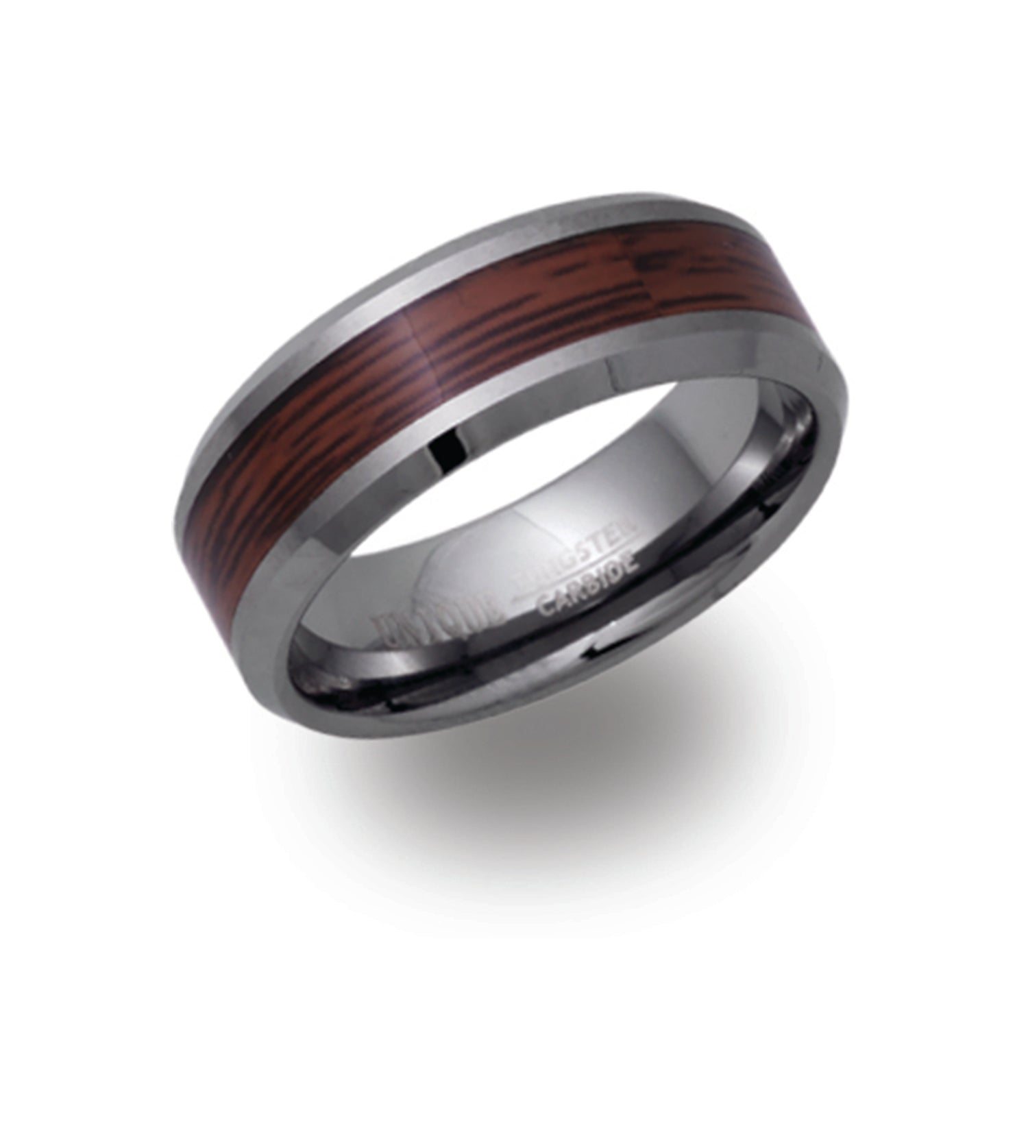 Tungsten Wood Inlay Ring