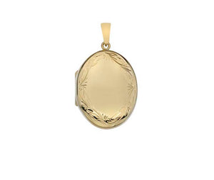 9ct Yellow Gold Oval Engraved Locket and Chain