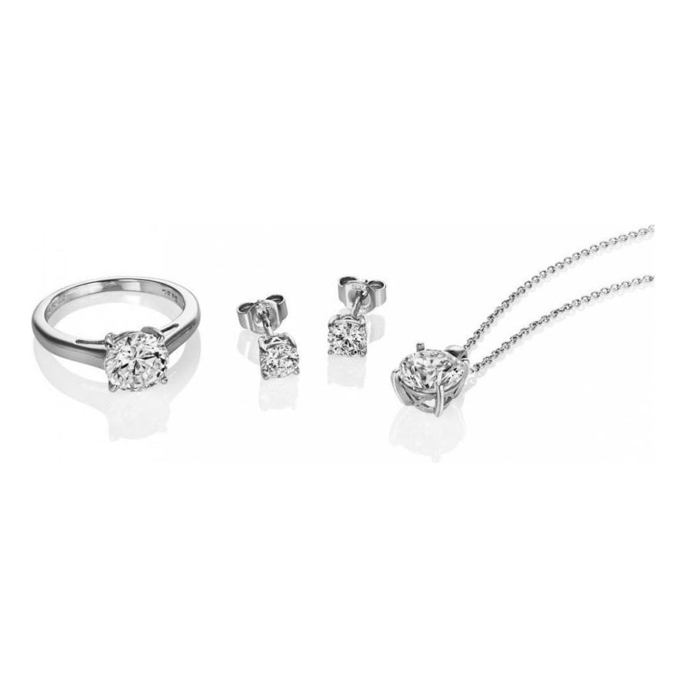 Diamonfire Sterling Silver CZ Pendant, Earring and Ring Set