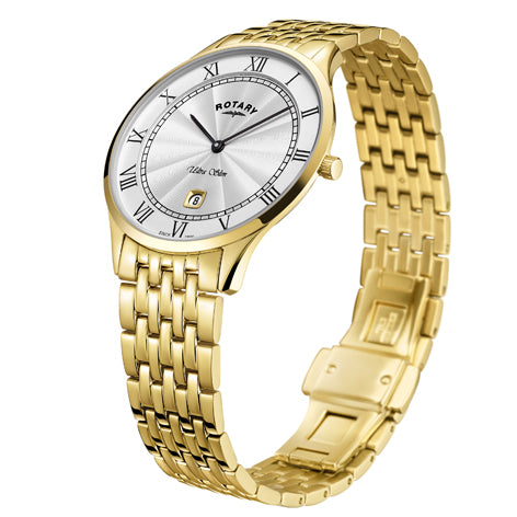 Rotary Ultra Slim Gold Plated Quartz Watch