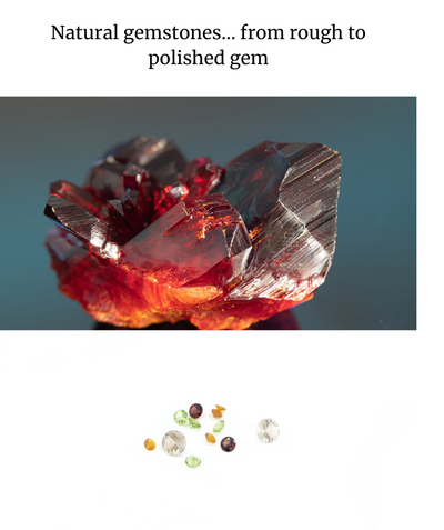 Natural gemstones... from rough to polished gem