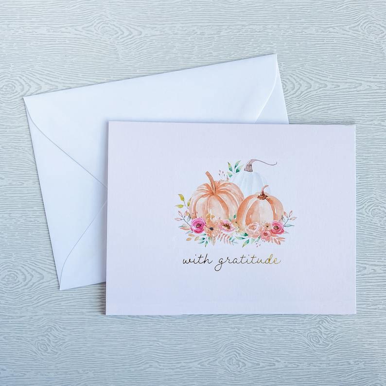 Stationery thanksgiving card set from Gilesi Paper Co