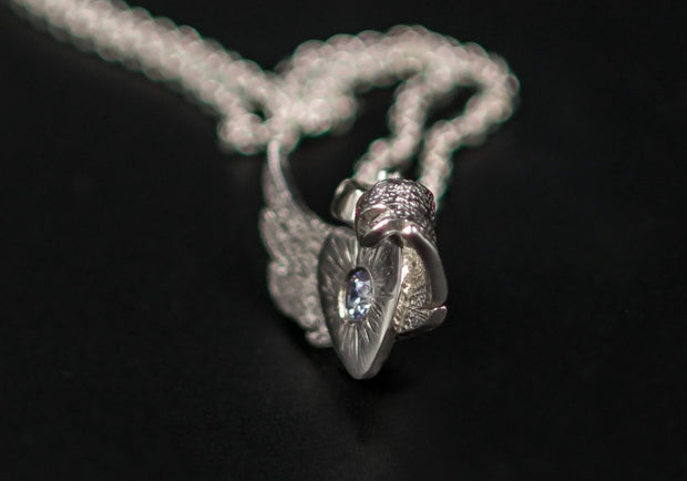 Angel Wing Pendant Necklace in Sterling Silver with Lavender CZ Stone