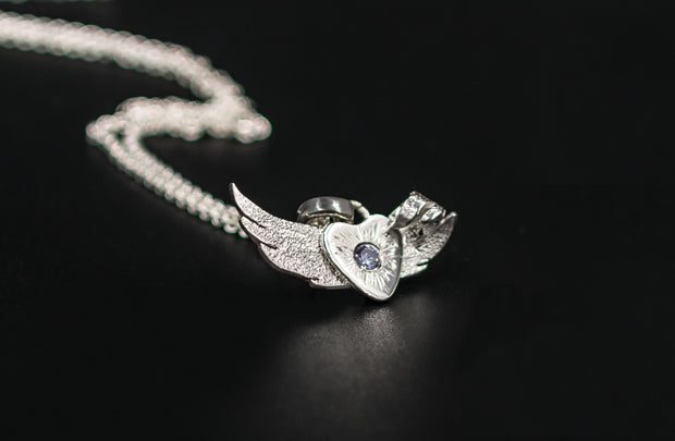 Angel Wing Pendant Necklace in Sterling Silver w Lavender CZ Stone
