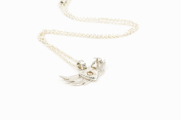 Angel Wing Pendant Necklace in Sterling Silver with Peach CZ Stone