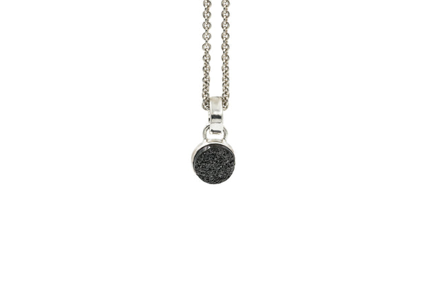 Black druzy pendant necklace in sterling silver