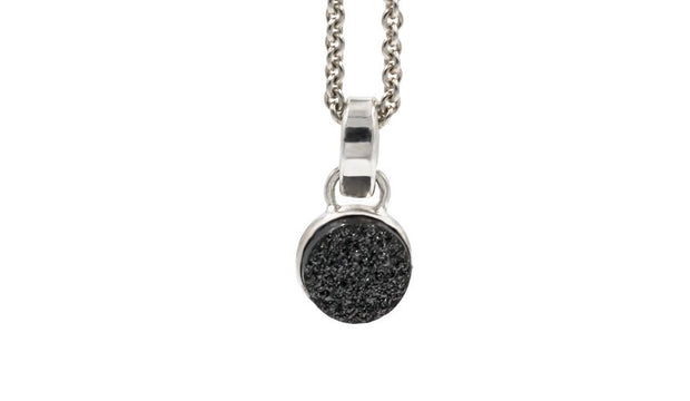 round black druzy pendant necklace in sterling silver