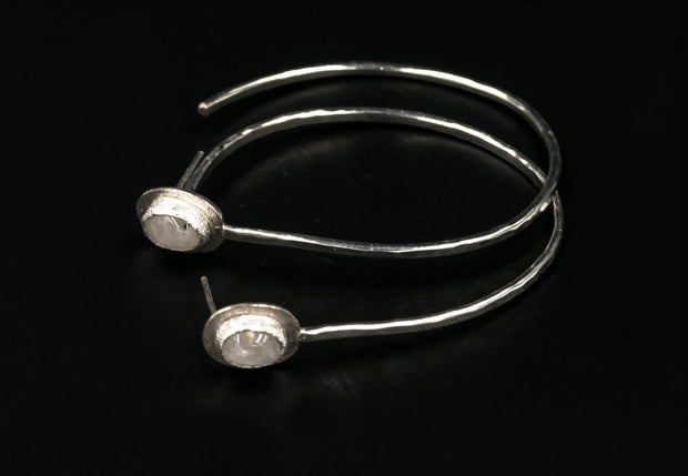 Moonstone Sterling Silver Hoop Earrings