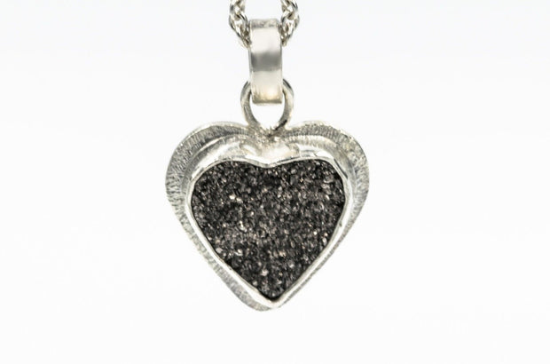 Grey Heart Druzy Pendant Necklace in Sterling Silver
