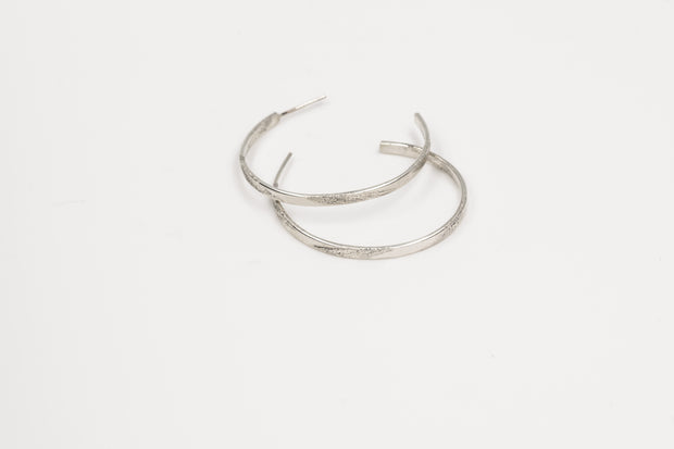 Long Pattern Sterling Silver Hoop Earrings - Large