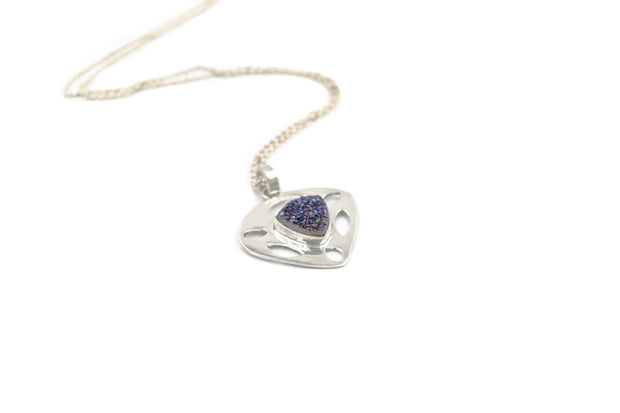 Sterling silver blue druzy teardrop pendant necklace
